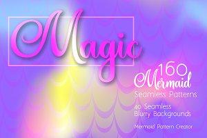 Mermaid Vector Seamless Patterns