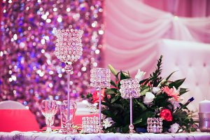 Beautiful glasses on banquet table