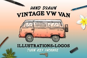 Hand Drawn Vintage VW Van Package
