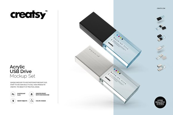 Acrylic USB Drive Mockup Set