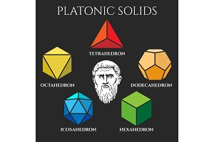 Platon solid set colored icons