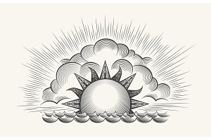 Vintage engraved sun with waves