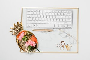 Pink And Gold Marble Desk