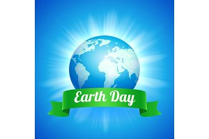 Earth Day illustration with blue globe