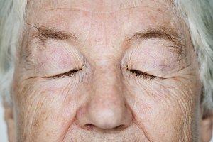 Closeup of elderly woman