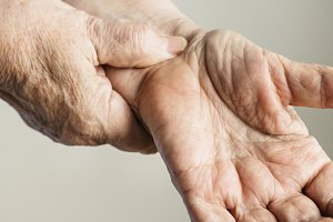 Closeup of elderly hands
