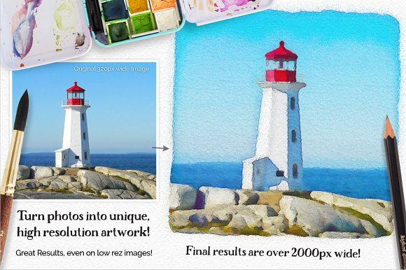Vibrant Watercolor Photo Effect Kit in Photoshop Plugins - product preview 1