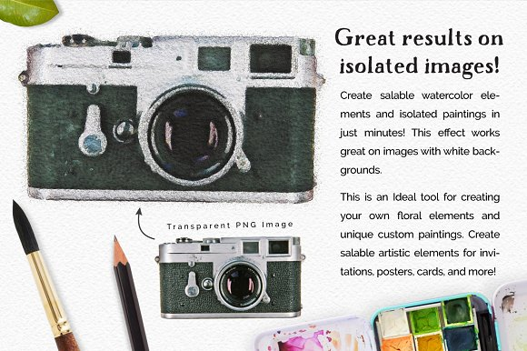 Vibrant Watercolor Photo Effect Kit in Photoshop Plugins - product preview 2