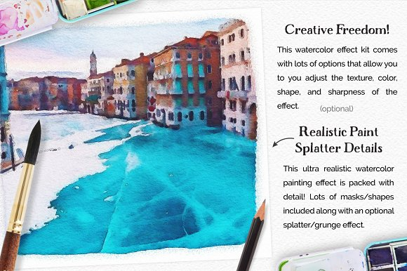 Vibrant Watercolor Photo Effect Kit in Photoshop Plugins - product preview 4