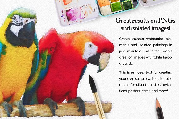 Vibrant Watercolor Photo Effect Kit in Photoshop Plugins - product preview 5