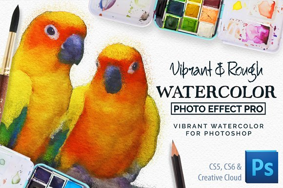 Vibrant Watercolor Photo Effect Kit in Photoshop Plugins
