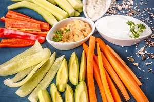 Assorted raw vegetable sticks