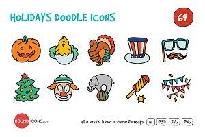 Holidays Doodle Icons Set