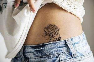 Closeup body with tattoo (PSD)