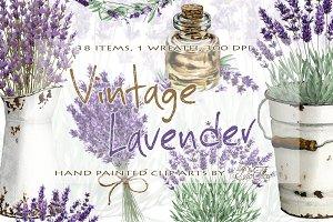 Vintage Lavender Watercolor Clip Art