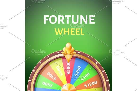 Fortune Wheel Poster With Earnings In 5000 Dollars