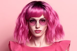 Fashion Portrait girl. Pink Hair
