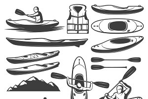 Vintage Kayaking Elements Set
