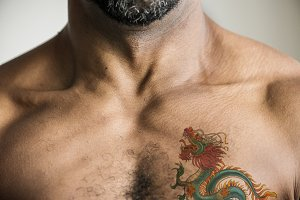 Closeup of body with tattoo (PSD)