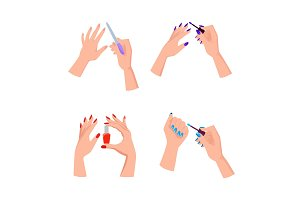 Hands with Bright Neat Manicure Illustrations Set