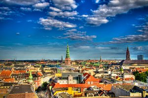 Panoramic aerial cityscape of Copenh