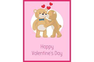 Happy Valentines Day Poster Teddy Bears Couple