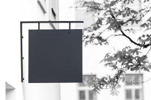 Black and white empty signage mockup