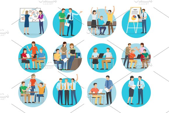 Start Up Collection Of Images Vector Illustration