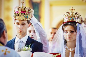 Beautiful couple with crowns