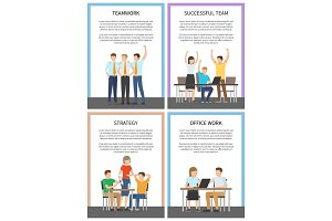 Set Office Team Work Successful Strategy Cards