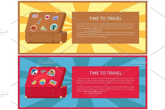 Time To Travel Posters Set Vector Illustration