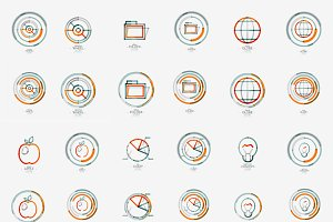 Thin line web icons set