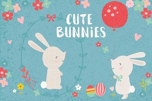 Cute bunnies clipart