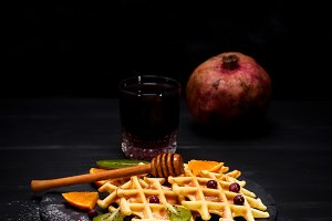 waffles and a glass of juice