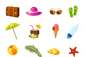 Beach multicolored icons set