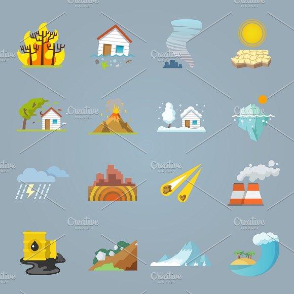 Natural Disaster Icons Flat Set