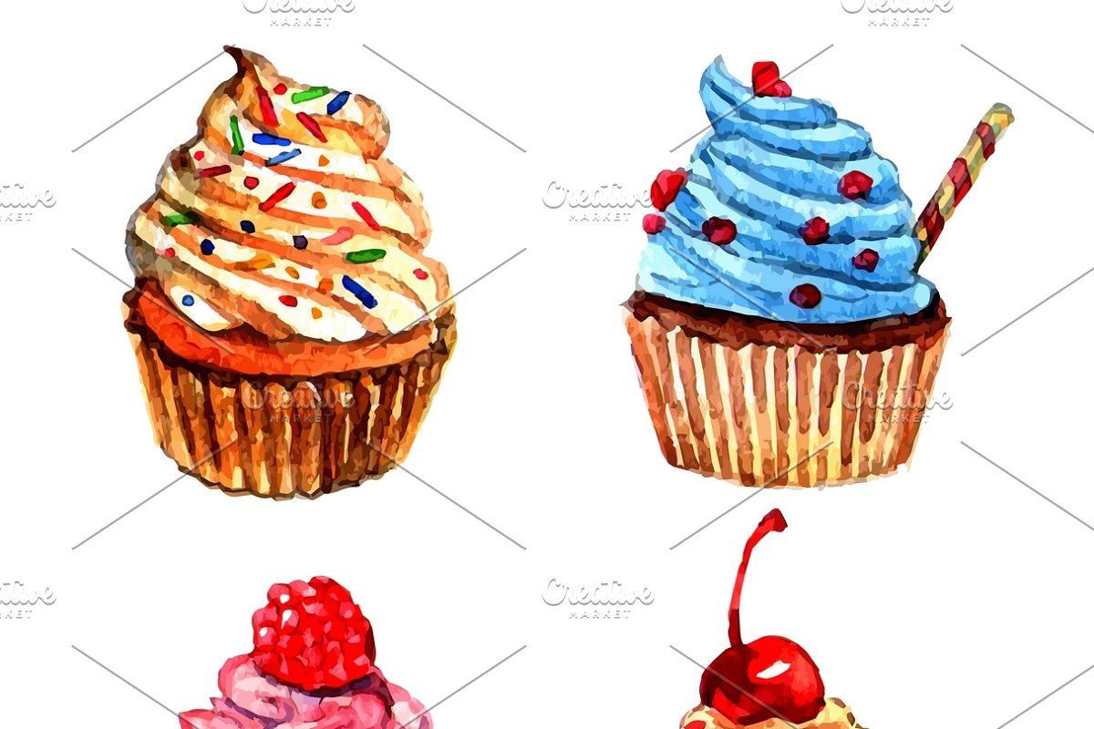 Cupcakes watercolor sketch set