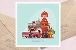 Vector illustration with firefighter