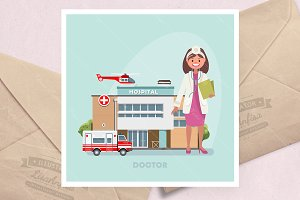 Vector illustration with doctor