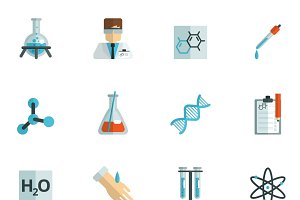 Chemistry icons flat set