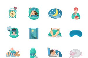 Sleep time flat icons set