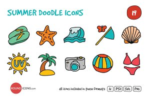 Summer Doodle Icons Set