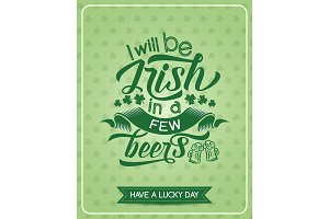 St Patrick Day green clover leaf greeting banner