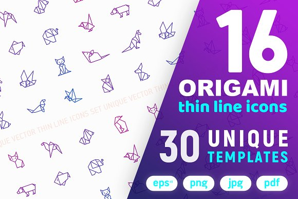 Origami Icons Set 30 Templates