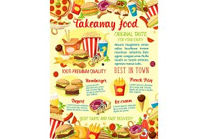 Vector takeaway fast food restaurant menu poster