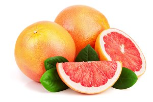 grapefruit and slices with leaves isolated on white background