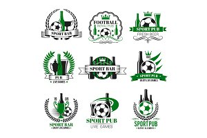 Vector soccer sport bar football beer pub icons