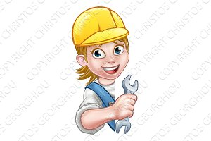 Cartoon Character Plumber Woman