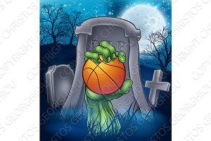 Basketball Zombie Halloween Graveyard Concept
