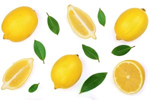 lemon isolated on white background. Flat lay, top view